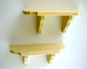 Dolls House Miniature Accessory 2 Wooden Wall Shelves Small