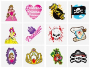 PIRATE & PRINCESS CHILDRENS TEMPORARY TATTOOS x 60 Party Bag Filler Kids Toy
