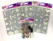 Mixed Girls & Boys Glitter Tattoo Kit. 50 Stencils, 8 Glitters, Brushes and Glue