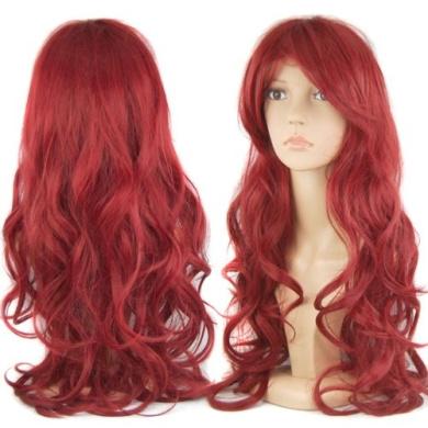 chinkyboo 70cm Slap-up Women's Bug/Wine Red Long Curly Wigs Beautiful Cosplay Fancy Dress + Wig Cap Gif+chinkyboo logobag