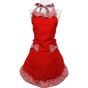 ROSENICE Cute Princess Style Grid Pattern Kitchen Cooking Baking Apron Women Ladies Apron with 2 Bowknot Pockets