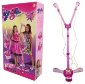 Kids Girls Karaoke Pink Twin Microphone with Adjustable Stand Light and Music