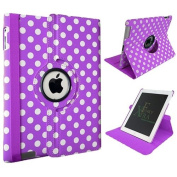 Funky Range Polka Dot Spots PU Leather 360° Degree Rotating Stand Smart Case With Auto Wake / Sleep Function For Apple iPad AIR (iPad 5 - 5th Gen) - PURPLE + Free Stylus