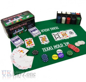 Texas Hold'em Poker Game Set Gaming Mat 200 Chips 2 Decks Playing Cards Tin Box