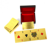 Generic 24K Karat Gold Foil Plated Poker Playing Card with Wood Box and Cer
