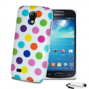 Polka Dots GEL Glossy Silicone Case Slim Skin Cover For Samsung Galaxy S4 Mini i9190 i9195 + Screen Protector + Stylus