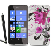 Nokia Lumia 635 630 Flower Floral Butterfly Silicone Case Gel Skin Cover + Screen Protector + Stylus