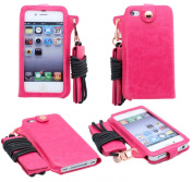 Apple iPhone 4 / 4G / 4S Leather Drop In Pouch With Detachable Neck String Leather Case Cover Pouch Plus Screen Protector & Screen Polishing Cloth