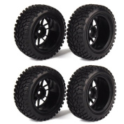 RC 1:10 Wheel Rim Rubber Tyre Tyres for Off-Road Vehicle Black Pack of 4