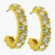 J Goodin Precious Womens Fashion Ornament Trillion Cut Cubic Zirconia Hoop Earrings Goldtone Finish