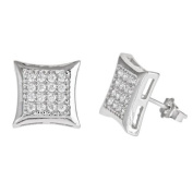 SQUARE KITE SHAPE 925 SILVER 14K WHITE GOLD PLATED WITH WHITE C.Z STONES STUD EARRINGS MEN LADIES KIDS 10MM