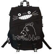Totoro Smiling Black Backpack with White Lettering 41cm School Backpack