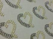 12 X25mm Stick on Self Adhesive Ab Clear Diamante & Pearl Rhinestone Heart Gems