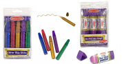Melissa and Doug Glitter Glue Sticks (5 colours) and Noon-Roll Washable Glue Sticks (3 sticks) Combo set