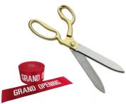 27cm Ceremonial Ribbon Cutting Scissors & Ribbon for Grand Openings
