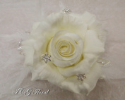 Silk White Rose Wedding Design Comb