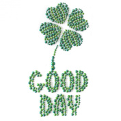 Hand-made Rhinestone Transfer Hot Fix Motif Fashion Design Good Day Lucky Clover 3 Sheets