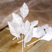 Package of 12 Satin Look Hand Wrapped Artificial Silk White Rose Leaf Stems for Floral Arranging, Crafting and Embellishing