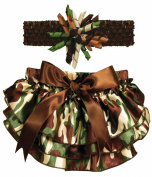 Stephan Baby Ruffled Nappy Cover and Curly Headband Gift Set, Camo Print, 18-24 Months