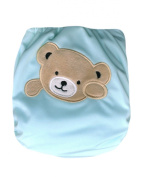 "Kawaii Baby Heavy Duty One Size hook and loop Cloth Nappy W/2 Inserts ""Bear"""