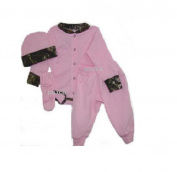 JLCK Pink W/camo Trim Infant/baby Long Sleeve Onsie, Pants, Hat & Booties SET