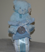 Baby Boy Motorcycle Nappy Cake with My First Teddy Plush Toy