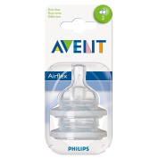 Avent Airflex Silicone Teats - Slow Flow 2 Hole 1mth+