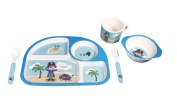 EcoBamboo Ware Kids Bamboo Dinnerware Set, Blue Pirate