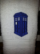 Embroidered Dr Who Tardis Inspired Police Box on White Towel