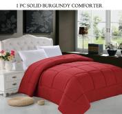 Elegant Comfort Luxury Silky Soft Goose Down Alternative Double-Fill Comforter Duvet Insert, Full/Queen, Burgundy
