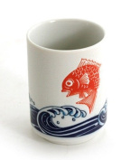 "Japanese 10cm H Porcelain Tea Sushi Coffee Cup ""Tai Fish Over Waves"", Made in Japan"
