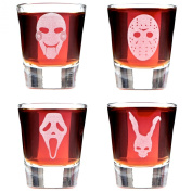 Set of 4 Minimalist Scary Movie Mask Shot Glasses; Featuring Jigsaw, Michael Myers, Scream and Frank the Rabbit. Inspired By Cult Classic Horror Stories.