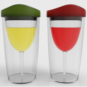 WINEOVA Insulated Wine Tumbler with Lid, 10 Ounze, Wine Glass Set of 2, with Red and Green Drink-through Lid. Double Wall Plastic Wine Glasses, Stemless Sippy Cup for Red Wine and White Wine - Great for Camping, Party, Travel - Keeps Bugs, Dirt Out of ..
