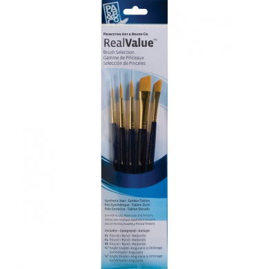 Princeton Art & Brush Real Value Brush Set, Synthetic Gold Taklon, Round 2 and 4, Liner 2/0, Shader 2 and 6