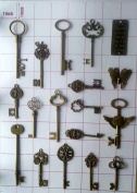 Vintage Skeleton Keys Charm Set in Antique Bronze Pack of 18 Keys, 18 Different Style, No Repeat