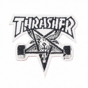 7.6cm X 6.9cm Thrasher Skate Embroidered iron on patch metal punk hip hop band logo for t shirt hat jacket