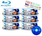 Smartbuy 150-disc 25GB 6x BD-R Blu-Ray Logo Top Blank Media Record Disc + Blue Marker + Ink Removal Pen