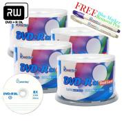 Smartbuy 200-disc 8.5GB/240min 8x DVD+R DL Logo Top Blank Media Record Disc + Blue Marker + Ink Removal Pen