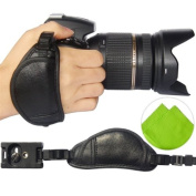 First2savvv OSH0701 Professional Wrist Grip black genuine leather hand Strap for Nikon D800 D800E D3200 D4 D600 with LENS Cleaning Cloth