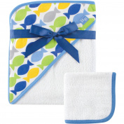 Hudson Baby Woven Hooded Towel and Washcloth Set, Fish