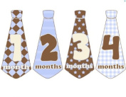 Monthly Baby Stickers Monthly Tie Stickers Boy Necktie Monthly Baby Boy Tie Stickers - UNCUT Baby Blues and Browns - Monthly Tie Necktie Stickers - Argye Diamond Stars Plaids
