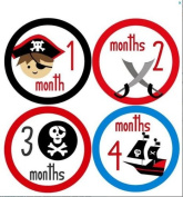Monthly Stickers Monthly Baby Boy Pirate Stickers Pirate and Skull Stickers Waterproof Baby Shower Gift