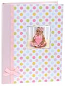 Stephan Baby Keepsake Mini-Dot Photo Brag Book with Ribbon Embellishment, Pink