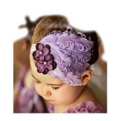 FuzzyGreen® Purple Lovely Generic Baby Newborn Toddler Girls Feather Infant Bow Peacock Headband Hairband Head Wear Photography Prop