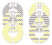 #C165 Grey Yellow Boy Girl Baby Closet Dividers Clothes Organisers Set of 6 Chevron