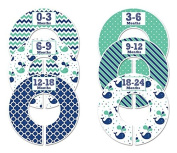 #C125 Nautical Boy Whale Baby Closet Dividers Clothes Organisers Set of 6 Navy