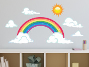 Sparkling Rainbow Fabric Wall Decal with Sun and Clouds, Two Size Options, Size Small