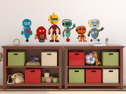 Robot Fabric Wall Decals, Set of 6 Cute Robots, 3 Different Sizes