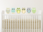 Owl Fabric Wall Decals, Set of 6 Owls Wall Stickers, Green, Taupe, Grey, Available in 4 Different Sizes, Non-Toxic, Reusable, Repositionable