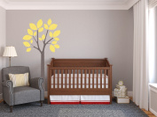 Modern Tree Fabric Wall Decal in Yellow - 4 Colour Options Available - Peel and Stick Fabric Nursery Wall Sticker